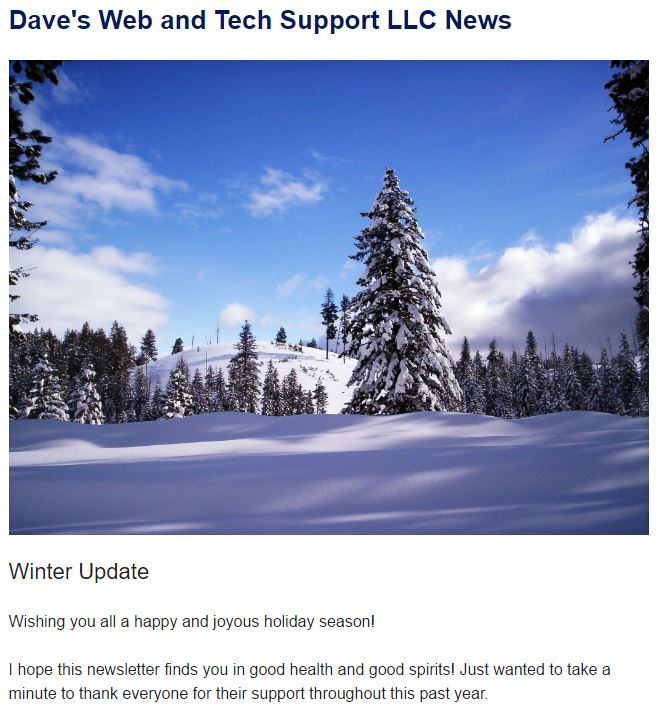 Winter Newsletter Image and Excerpt