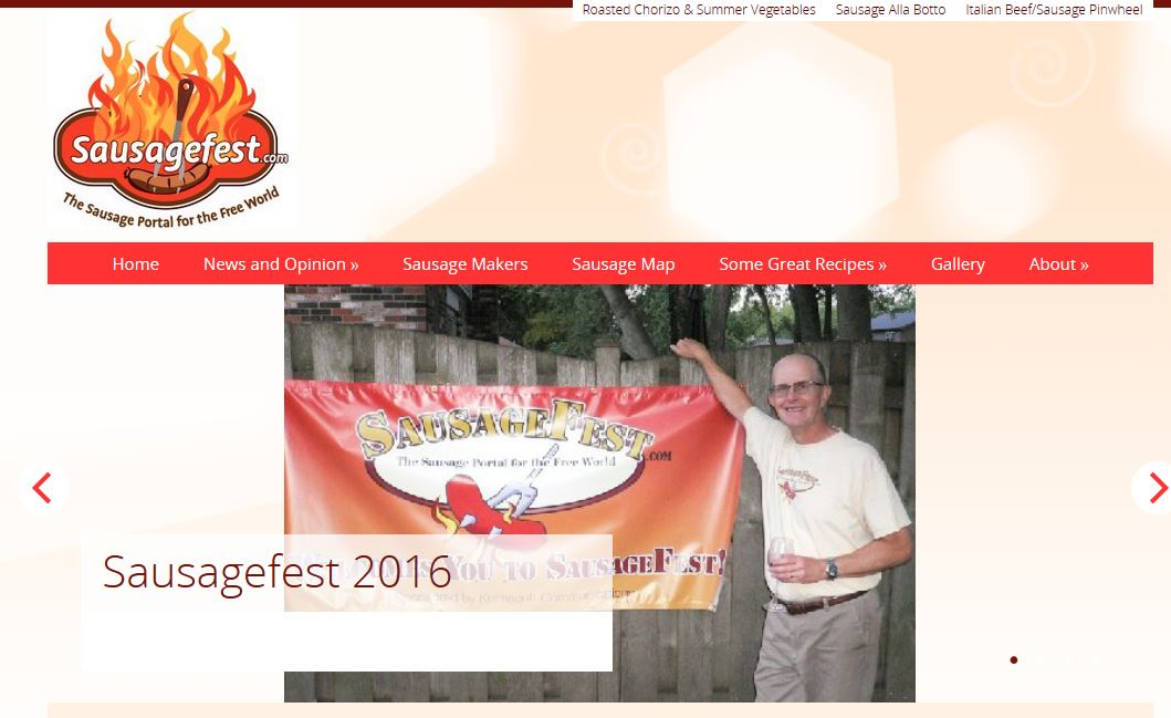 Screenshot of Front Page of Sausagefest .com website.